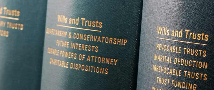 Volumes of books about Wills and Trusts