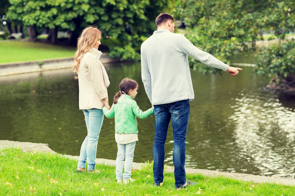 Family looking in the lake