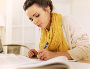 Lady writing a will